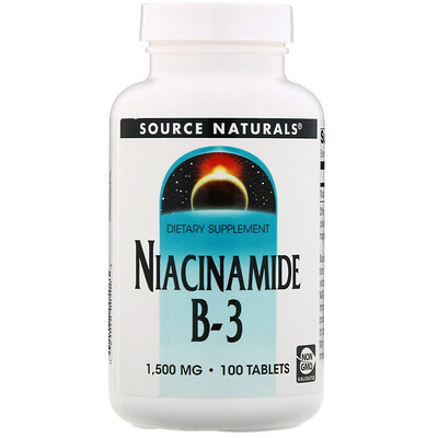 Source Naturals Niacinamide B-3, 1,500 mg, 100 Tablets