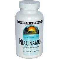 Никотинамид, B-3,начинает действовать в запланированное время, 1,500 мг, 100 таблеток - фото