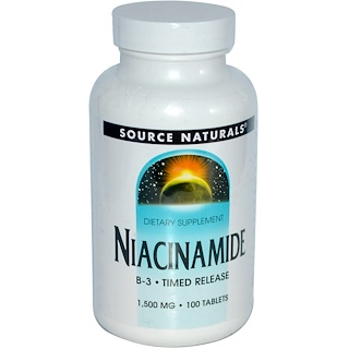 Source Naturals, Niacinamide, B-3, Timed Release, 1,500 mg, 100 Tablets