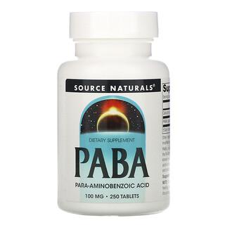Source Naturals, PABA، 100 ملجم، 250 قرص