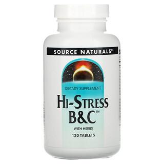 Source Naturals, Hi-Stress B&C بالأعشاب، 120 قرصًا