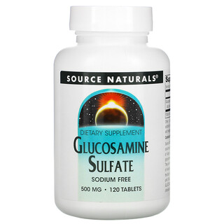 Source Naturals, Glucosamine Sulfate, Sodium Free, 500 mg, 120 Tablets