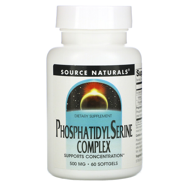 Source Naturals, Complexo de Fosfatidilserina, 500 mg, 60 Cápsulas Softgel