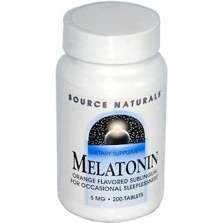 Source Naturals, Melatonin, Orange Flavored, 5 mg, 200 Tablets