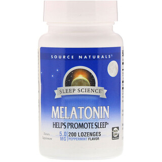 Source Naturals, Melatonin, 5 mg, Sublingual mit Pfefferminzgeschmack, 200 Tabletten