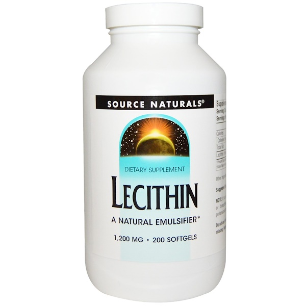 Source Naturals, Lécithine, 1 200 mg, 200 capsules molles