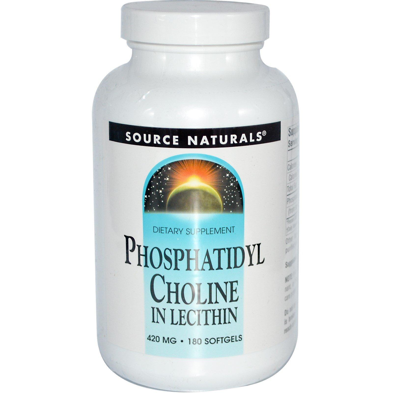Source Naturals, Фосфатидилхолин, лецитин, 420 мг, 180 капсул