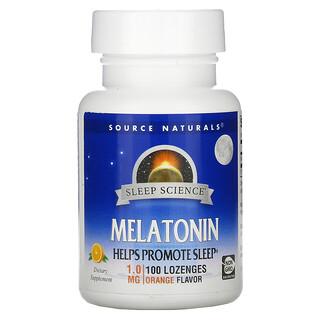Source Naturals, мелатонин, апельсин, 1,0мг, 100пастилок