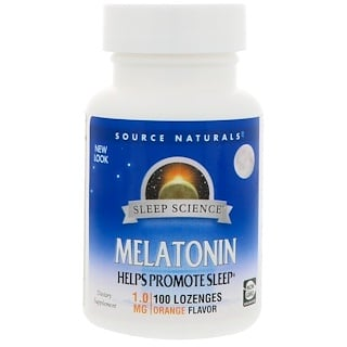 Source Naturals, Melatonin, Orange Flavor, 1.0 mg, 100 Lozenges