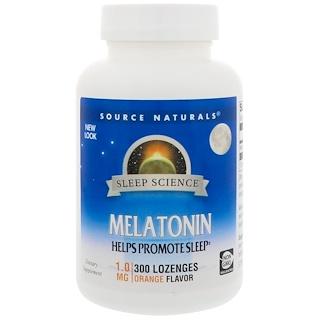 Source Naturals, Melatonin, Orange Flavor, 1 mg, 300 Lozenges