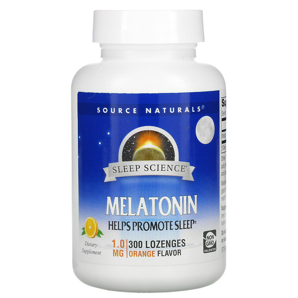 Sleep Science, Melatonin, Orange, 1 mg, 300 Lozenges