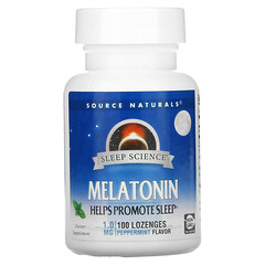 Source Naturals, Melatonin, Peppermint, 1 mg, 100 Lozenges