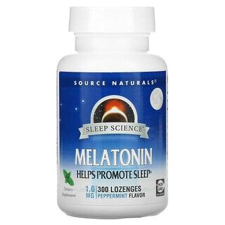 Source Naturals, Sleep Science, Melatonin, Peppermint, 1 mg, 300 Lozenges