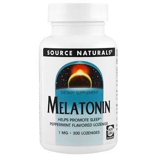 Source Naturals, Melatonin, Peppermint Flavored Lozenge, 1 mg, 300 Lozenge