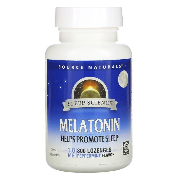 Melatonin, Peppermint, 1 mg, 300 Lozenge