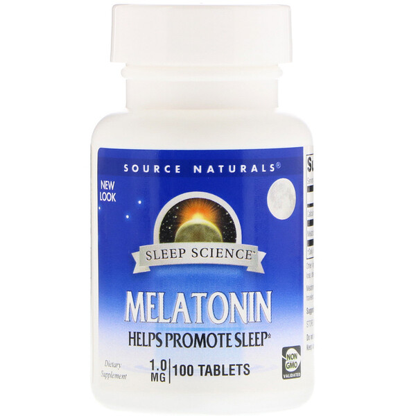 Source Naturals, Mélatonine, 1 mg, 100 tablettes