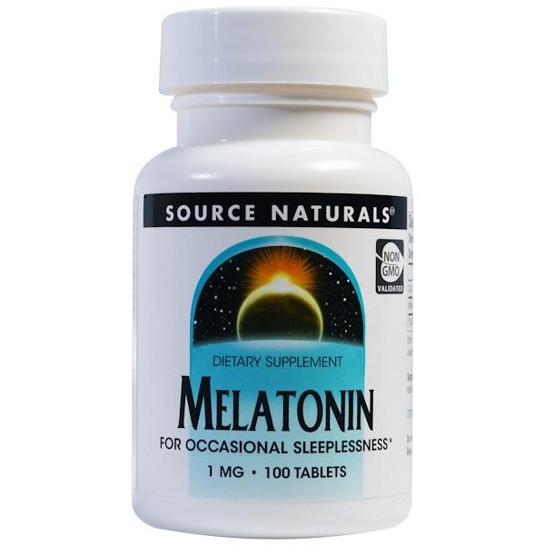 Source Naturals, メラトニン、1 mg、 100 錠