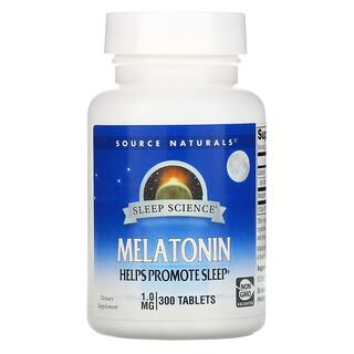Source Naturals, Sleep Science, Melatonin, 1 mg, 300 Tablets