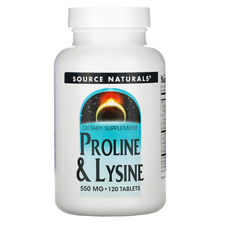 Source Naturals, L-Proline & L-Lysine, 550 mg, 120 Tablets