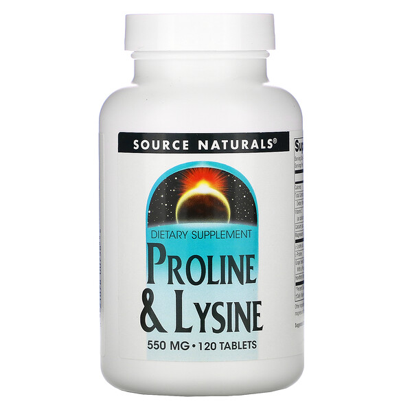 Source Naturals, L-Proline & L-Lysine, 550 mg, 120 Tablets