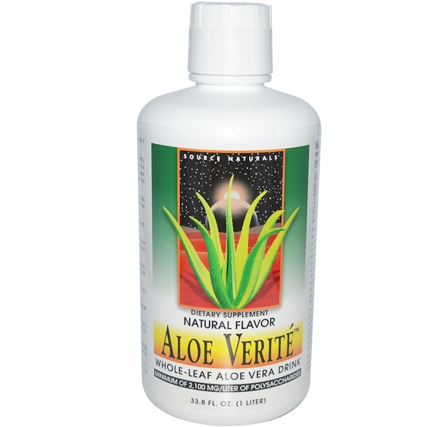 Source Naturals, Aloe Verité, Whole-Leaf Aloe Vera Drink, Natural Flavor, 33.8 fl oz (1 Liter) (Discontinued Item)