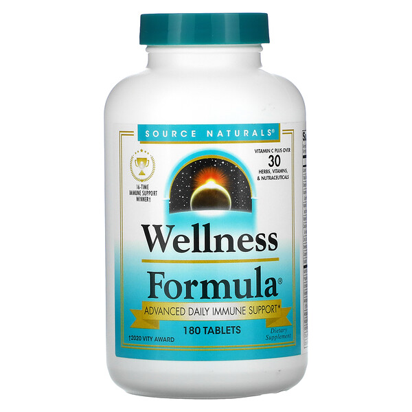 Source Naturals, Wellness Formula, Advanced Daily Immune Support, 180 Tablets