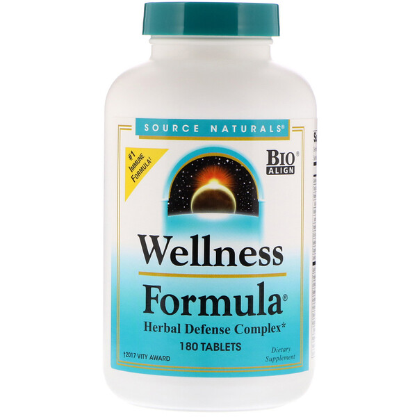 Source Naturals, Wellness Formula, Herbal Defense Complex, 180 Tablets
