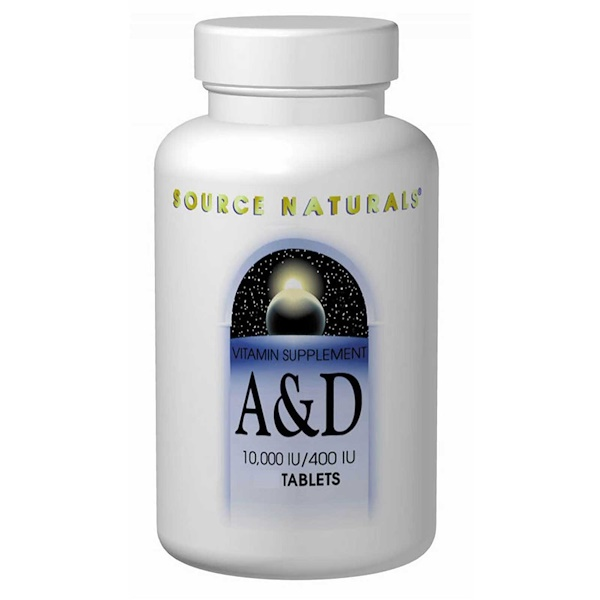 Source Naturals, A & D, 10,000 IU/400 IU, 250 Tablets (Discontinued Item)