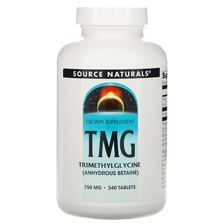 Source Naturals, TMG, триметилглицин, 750мг, 240таблеток