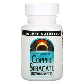 Source Naturals, Cobre sébacate, 22 mg, 120 tabletas