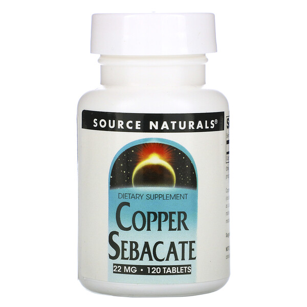 Source Naturals, Cobre sébacate, 22 mg, 120 tabletas