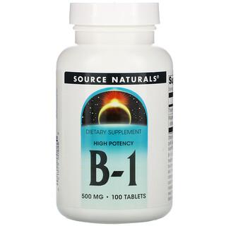 Source Naturals, B-1, высокая эффективность, 500 мг, 100 таблеток