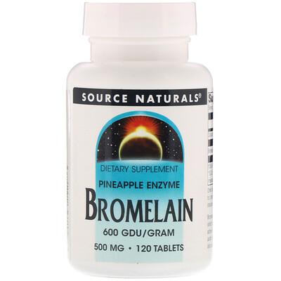 Купить Бромелаин, 600 ГДУ / г, 500 мг, 120 таблеток