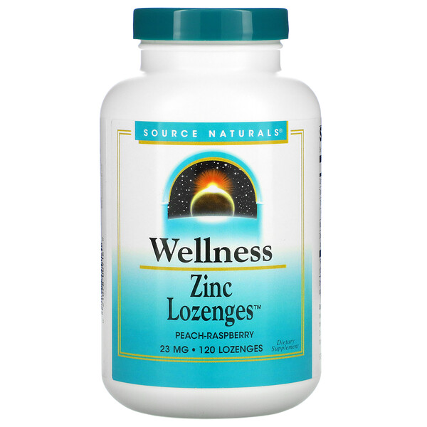 Wellness, Zinc Lozenges, Peach-Raspberry, 23 mg, 120 Lozenges