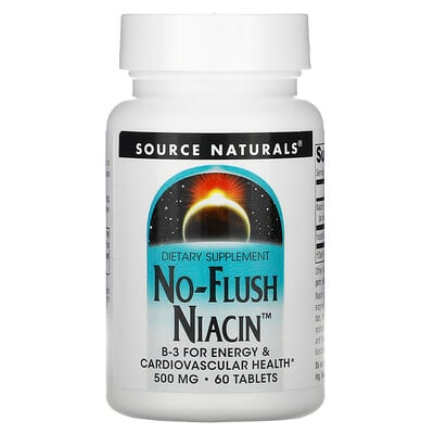 Source Naturals Ниацин, не вызывает приливов крови, 500 мг, 60 таблеток