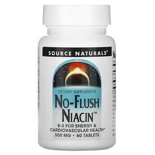 Source Naturals, نياسين دون تدفق فجائي، 500 ملغم، 60 حبة