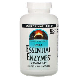 Source Naturals, DailyEssentialEnzymes, добавка с незаменимыми ферментами для ежедневного использования, 500мг, 240капсул