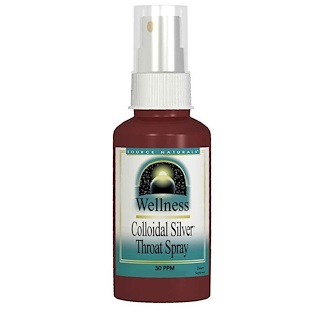 Source Naturals, Wellness, Colloidal Silver Throat Spray, 30 PPM, 2 fl oz (59.14 ml)