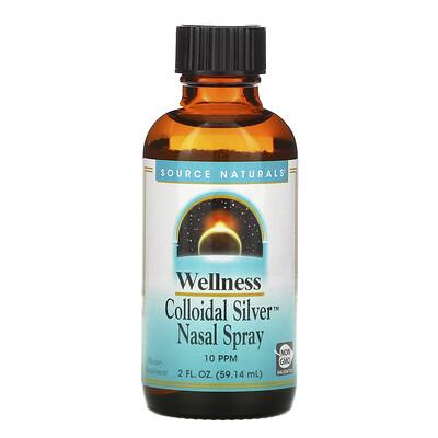 Купить Source Naturals Wellness, назальный спрей с коллоидным серебром, 10част./млн, 59, 14мл (2жидк.унции)