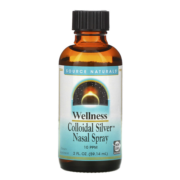 Source Naturals, Wellness, Colloidal Silver Nasal Spray, 10 PPM, 2 fl oz (59.14 ml)