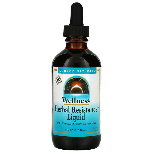 Wellness, Herbal Resistance Liquid with Echinacea, Coptis & Yin Chiao, Alcohol Free, 4 fl oz (118.28 ml)