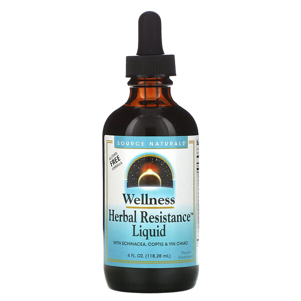 Source Naturals, Wellness, Herbal Resistance Liquid with Echinacea, Coptis & Yin Chiao, Alcohol Free, 4 fl oz (118.28 ml)