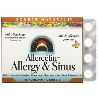 Source Naturals, Allercetin, Alergia y senos nasales, 48comprimidos homeopáticos