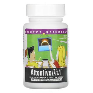 Source Naturals, Attentive DHA, 100 mg, 60 Vegetarian Softgels