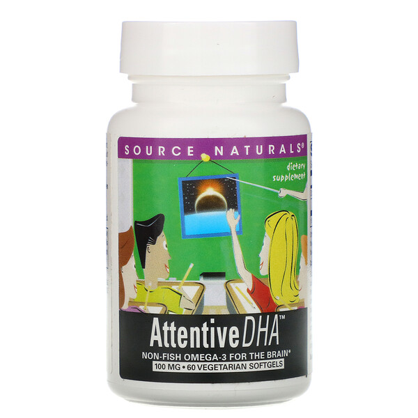 Source Naturals, Attentive DHA, 100 mg, 60 Veggie Softgels
