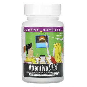 Сорс Начэралс, Attentive DHA, 100 mg, 60 Vegetarian Softgels отзывы