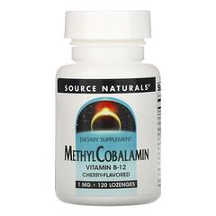 Source Naturals, 甲基鈷胺素維生素 B12,櫻桃,1 毫克,120 片含片