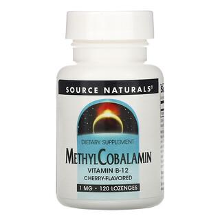 Source Naturals, ميثيل كوبالامين فيتامين ب12، نكهة الكرز، 1 ملجم، 120 قرص استحلاب