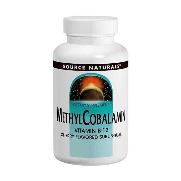 Source Naturals, MethylCobalamin Vitamin B12, Cherry Flavored, 1 mg, 120 Lozenges