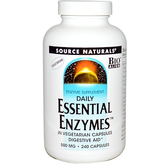 Source Naturals, Daily Essential Enzymes, 500 mg, 240 Cápsulas Vegetarianas